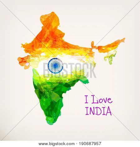 Indian hand drawn watercolor map. Watercolor background in national tricolors. India Independence Day. I love India. Template for cover design, greeting card, flyer. Vector illustration