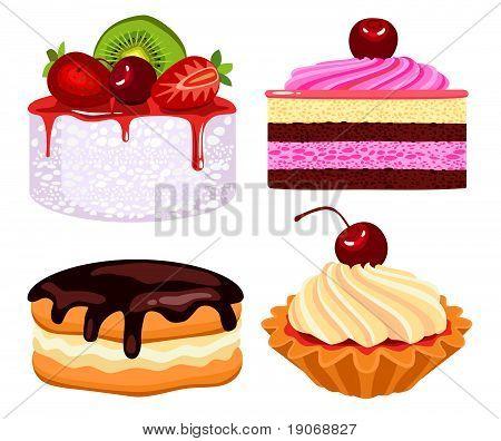 Set Of Cakes With Cream.