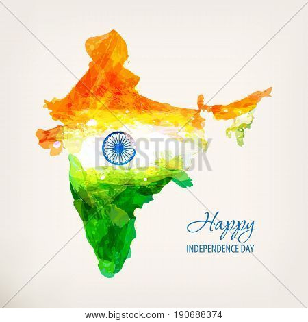 Happy Independence Day. Indian hand drawn watercolor map. Watercolor background in national tricolor. Template for cover design, greeting card, invitation, brochure, banner, flyer. Vector illustration