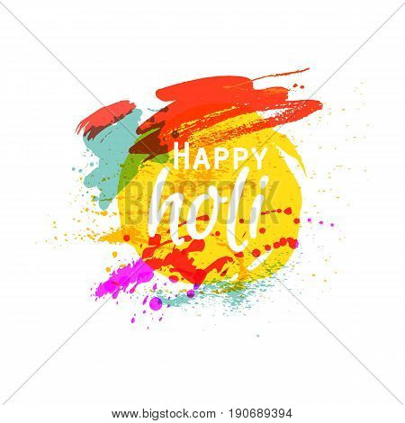 Happy Holi. Indian Fest Party celebration. Spring, festival of colour, splash, paint clouds, powder paint. Watercolor abstract background. Template for creative flyer, banner. Vector illustration