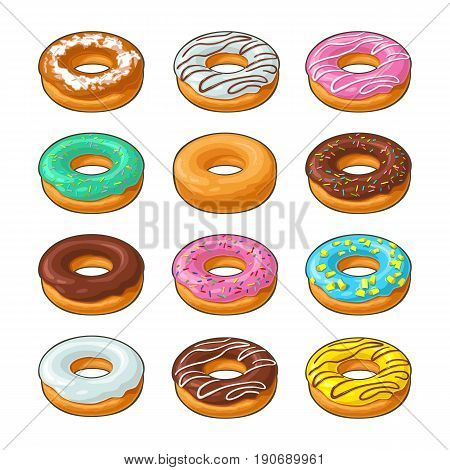 Set donut with different icing, glaze, stripes, sprinkles. Vector colorful flat illustration for poster, label and menu bakery shop. Isolated on the white background.