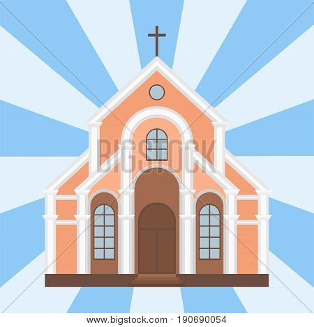 Cathedral catholic church infographic traditional temple building landmark tourism vector illustration. World religions history place historic monument.