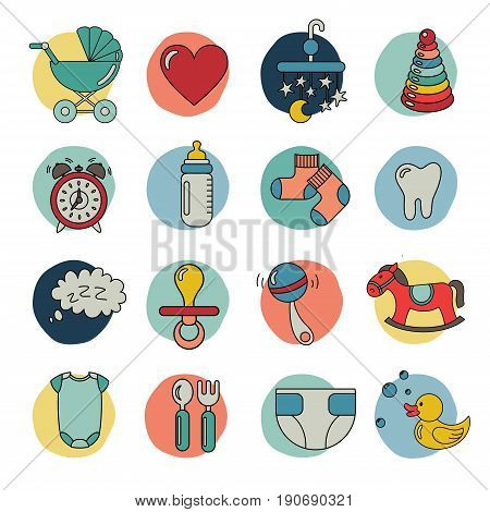Baby flat icon set: cloth, toys, food. Template elements for web and mobile applications. Vector illustration.