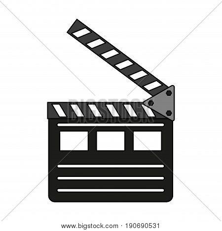 Clapperboard over white background design vector illustration