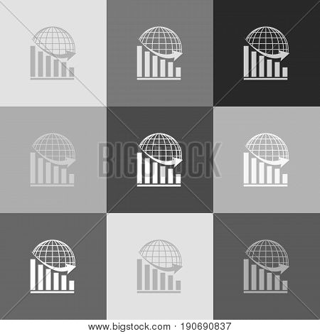 Declining graph with earth. Vector. Grayscale version of Popart-style icon.