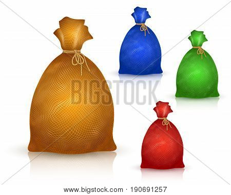 Sack from burlap in realistic drawing style; A filled bag tied with a rope; Vector set of yellow blue green red icons of sacs