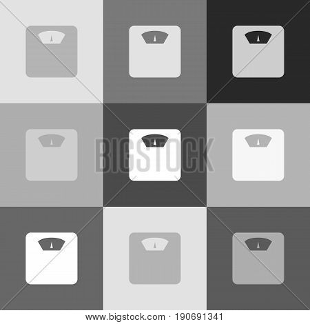 Bathroom scale sign. Vector. Grayscale version of Popart-style icon.