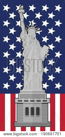 Statue of Liberty. Flag of the United States of America