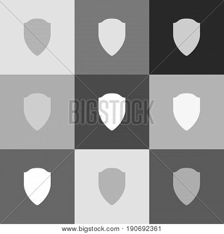poster of Shield sign illustration. Vector. Grayscale version of Popart-style icon.