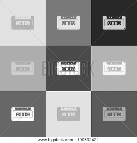 Cassette icon, audio tape sign. Vector. Grayscale version of Popart-style icon.