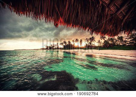 Beautiful View Toward Tropical Beach From Wooden Water Villa