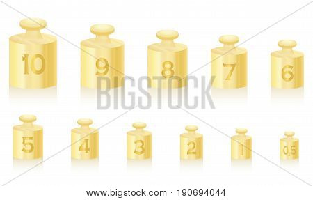 Golden weight masses for gold scale - set from one to ten, plus a half unit - isolated vector illustration on white background.