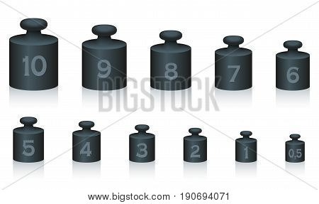 Weight masses of black iron for maths and physics, from one to ten, plus half unit - for calculating, counting and weighing - isolated vector illustration on white background.