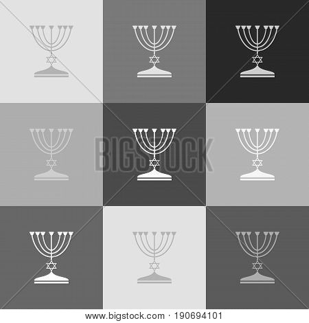 Jewish Menorah candlestick in black silhouette. Vector. Grayscale version of Popart-style icon.