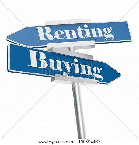 Renting and buying on blue road signs 3D rendering
