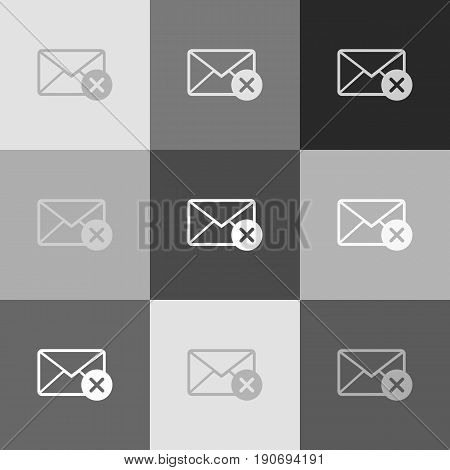 Mail sign illustration with cancel mark. Vector. Grayscale version of Popart-style icon.