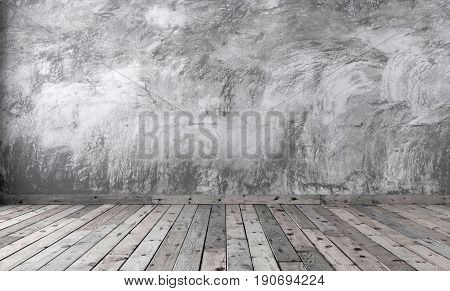 Blank of minimalist style room with gray cement plaster on the wall and brown wooden flooring on the floor. Rough concrete walls and boards with dark knots. 3D rendering.