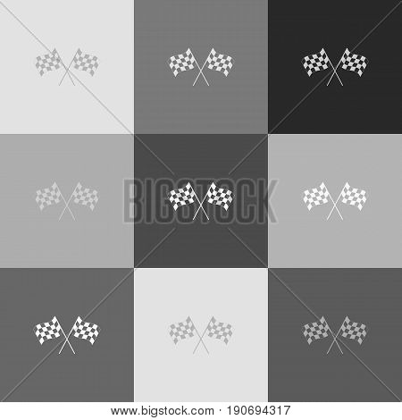 Crossed checkered flags logo waving in the wind conceptual of motor sport. Vector. Grayscale version of Popart-style icon.