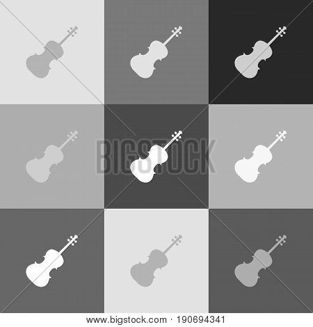 Violin sign illustration. Vector. Grayscale version of Popart-style icon.