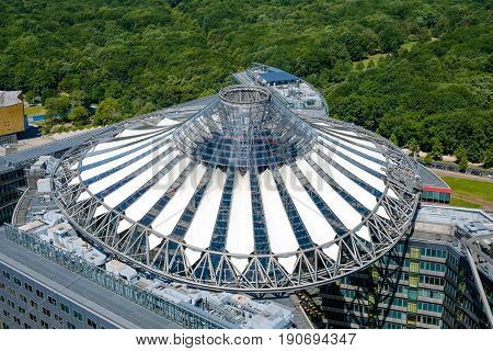 Aerial Of The Roof Of The Sony Center Building At Potsdamer Platz  In Berlin