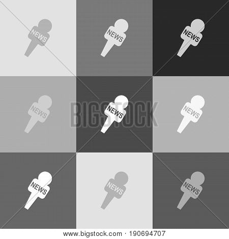 TV news microphone sign illustration. Vector. Grayscale version of Popart-style icon.