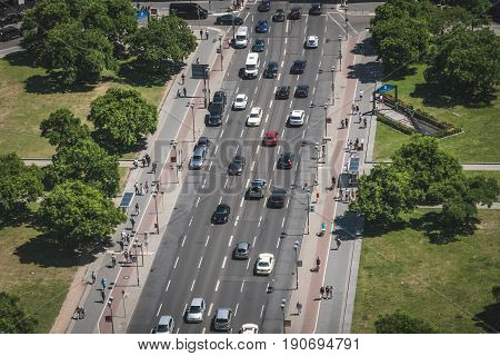 Aerial Of Busy Street And Sidewalk Traffic With Cars And People At Potsdamer Platz In Berlin