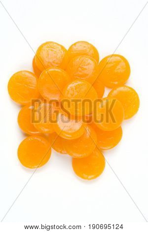 Butterscotch Hard Candies Isolated On A White Background