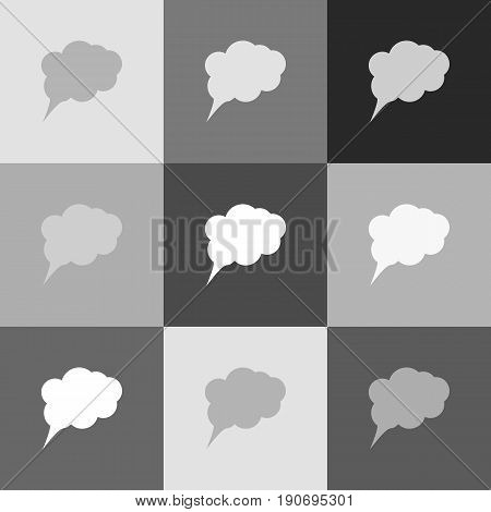 Speach bubble sign illustration. Vector. Grayscale version of Popart-style icon.