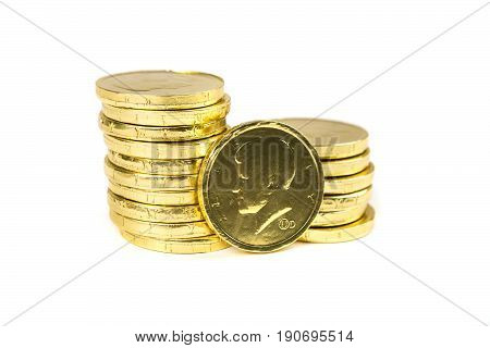Chocolate Gold Coins Isolated On A White Background