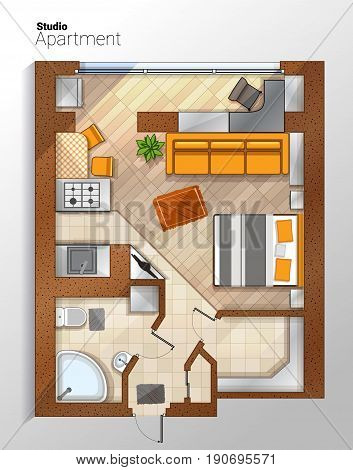 Vector top view color architectural floor plan of modern studio apartment which combines living room, bedroom and kitchenette with furniture.