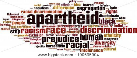 Apartheid word cloud concept. Vector illustration on white