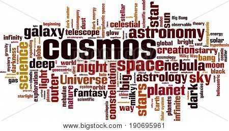 Cosmos word cloud concept. Vector illustration on white