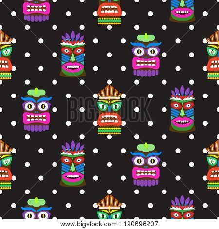 Tiki mask seamless polka dot dark pattern vector. Hawaiian culture black and white background.