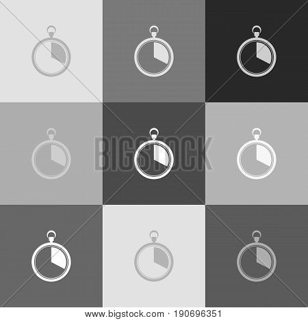 The 20 seconds, minutes stopwatch sign. Vector. Grayscale version of Popart-style icon.