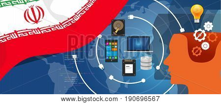 Iran information technology digital infrastructure connecting business data via internet network using computer software an electronic innovation vector.