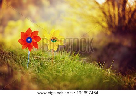 Two orange and yellow pinwheels against nature background in sunny summer day.