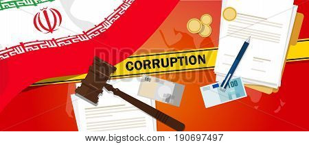 Iran corruption money bribery financial law contract police line for a case scandal government official vector