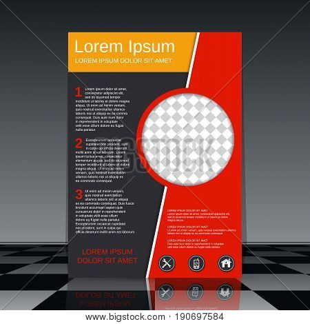 Professional business flyer with red, yellow and black elements vector design template