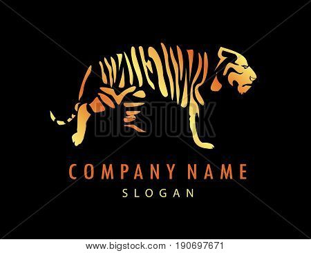 Abstract tiger logo on a black background