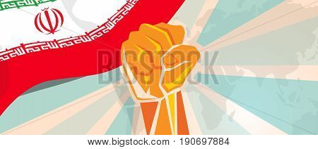 Iran hand fist propaganda poster fight and protest independence struggle rebellion show symbolic strength vector