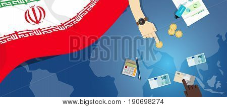 Iran economy fiscal money trade concept illustration of financial banking budget with flag map and currency vector