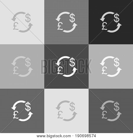 Currency exchange sign. UK: Pound and US Dollar. Vector. Grayscale version of Popart-style icon.