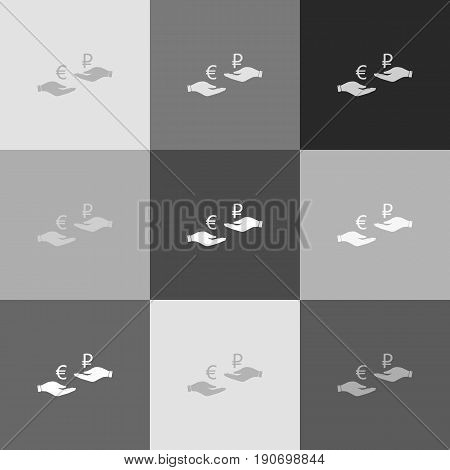 Currency exchange from hand to hand. Euro and Ruble. Vector. Grayscale version of Popart-style icon.