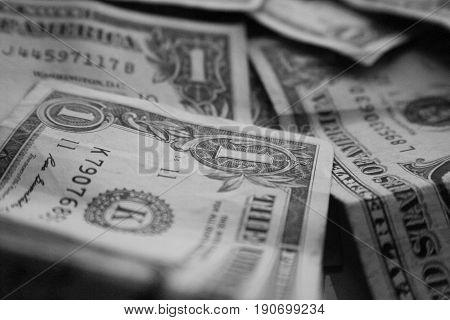 Dollar Bills Black & White Close Up High Quality