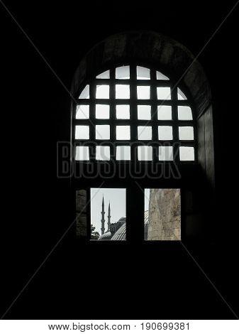 Look through the window of the Church Hagia Sophia, Istanbul, Turkey