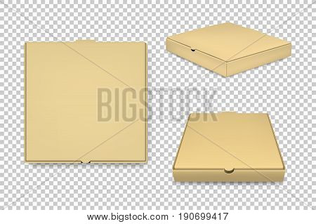 Realistic vector brown pizza boxes icon set. Corporate identity and branding elements. Closeup isolated on transparent background. Design template, mockup, EPS10 illustration.