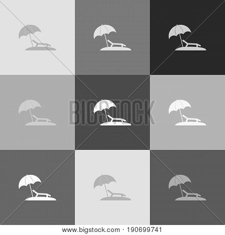 Tropical resort beach. Sunbed Chair sign. Vector. Grayscale version of Popart-style icon.