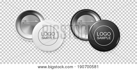 Realistic white and black button badge icon set isolated on transparent background. Front and back view. Vector design template for branding, advertise etc. EPS10 illustration, mockup.