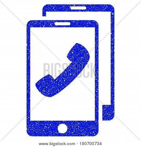 Grunge Cell Phones icon with grunge design and unclean texture. Unclean vector blue pictogram for rubber seal stamp imitations and watermarks. Draft sign symbol.