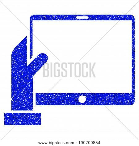 Grunge Hand Holds PDA icon with grunge design and dirty texture. Unclean vector blue pictogram for rubber seal stamp imitations and watermarks. Draft emblem symbol.